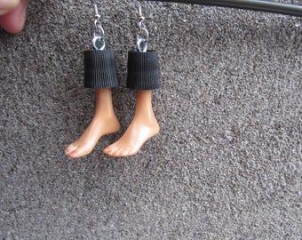Upcycled Barbie Doll Feet Earrings - black caps