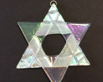 Star Of David Fused Glass Christmas Ornament (clear)