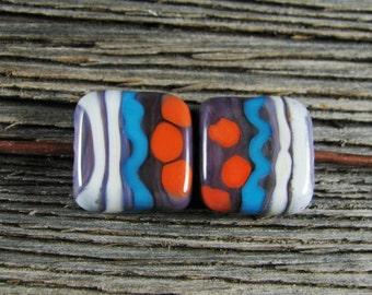 Handmade Artisan Organic Southwest Tribal Style Lampwork Square Tile Pair Glass Bead Set SRA