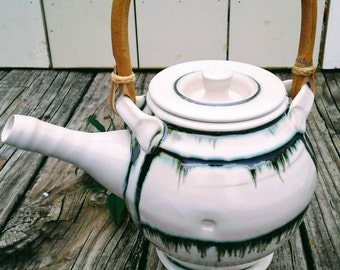 Pottery Teapot, white and sliver, metallic, green,