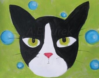 Tuxedo Cat Art Print - Angry Tuxedo Cat Art - Tuxedo Cat Print - Silent Mylo Tuxedo Cat - Cat Wall Art - Cat Lover Gift - Cat Illustration