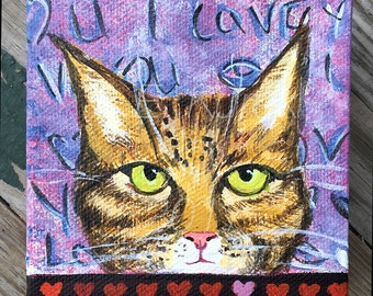 Cat Valentine - Valentine's Day Original Cat Painting - Tiger Cat Valentine Painting - Gift for Cat Lover - Valentine's Day Cat Gift