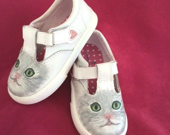 Toddler Shoes Leather Painted Kitten White Size 6 Girls Mary Janes T Strap