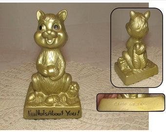 "Vintage Hard Plastic Gold Squirrel Statue Figurine by A T Inc, 1970, ""I'm Nuts About You!"", acorns, home decor"