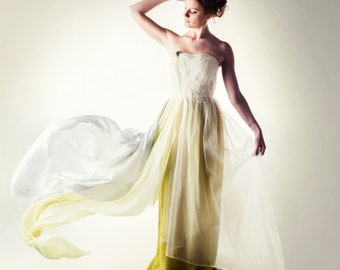 Wedding dress, Green Wedding dress, Fairy wedding dress, Bohemian wedding dress, Non white wedding dress, Corset wedding dress, Boho dress