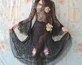 Southern Gothic Josette Dress 1920's Black Lace Dress dripping with Ribbon Work Batwing Sleeve