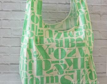 Reusable Grocery Bag Eco Friendly Market Bag Shopping Bag Letters Mint Alphabets
