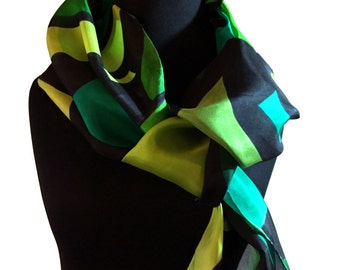 Green Scarf, Hand Painted Abstract Silk Scarf