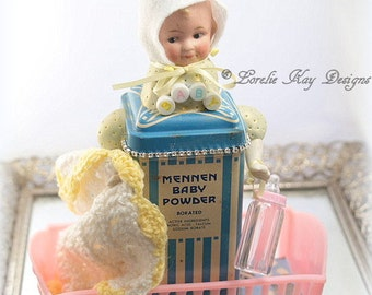 Oh Baby Art Doll Vintage Powder Tin Assemblage Miniature Doll Sculpture One-of-a-Kind Baby Shower Gift