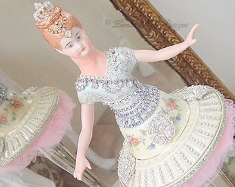 Assemblage Art Doll Ballerina Dancer Doll Sculpture Decoration Muted Colors Soft Flowers Romantic Decor Lorelie Kay Original