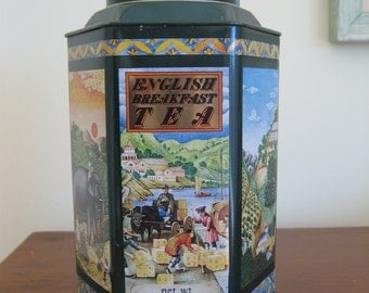 Vintage tea tin canister 1983 Crabtree & Evelyn 6 sided China scenes elephant dark green