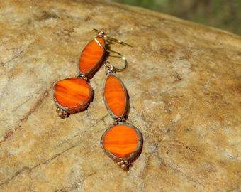 Orange Czech Bead Dangle Bead Earrings