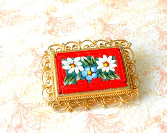 Vintage Italian Micromosiac Forget Me Not & Daisies Brooch - Scalloped Brass Filigree, Micromosiac Flower Rectangle, Glass Flower