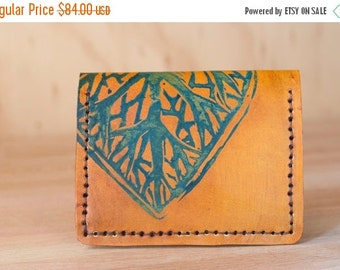 JANUARY SALE Front Pocket Wallet - Leather Card Wallet with Leaf Pattern - Small Wallet in blue and antique tan
