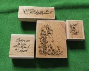 Morning Glory 4 rubber stamp set