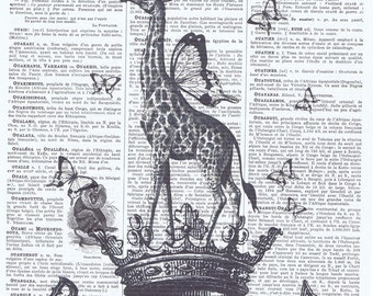Giraffe.Daydream Inspirational Quote.Antique.Book Page Print.Top hat.butterflies.birthday gift idea.home deco.wall art.mixed media.child.eco