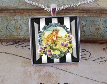 Mermaid pendant......mermaid with orchids on black and white, altered art, gift boxed and  READY to SHIP , vintage mermaids, mermaid jewelry