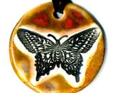 Butterfly Ceramic Necklace in Earth-tones