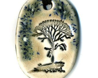 Winter Tree Ceramic Necklace in Spotted Mocha Crackle