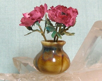 Miniature Porcelain Vase with Fulper Style Flambe Glaze in 1:12 Dollhouse Scale