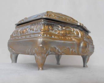 Vintage Trinket Box, Pewter & Gold Finish, Restored, Colonial Theme, ca 1950s NT-1293