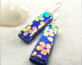 Sakura jewelry, Hana Sakura Designs, fused glass cabochons, Dichroic earrings, dichroic glass, statement earrings, flower jewelry, dichroic