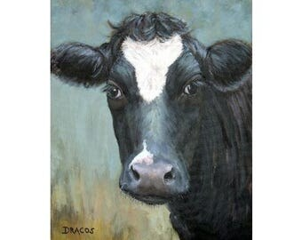 Black Cow Farm Animal Art Print of Original Painting by Dottie Dracos, Farm Animals, Cows, Cow, black cow, Black cow with white star