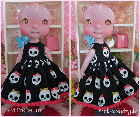 Tiny BJD Cerise Skulls Babydoll Dress by Tickled Pink by Julie