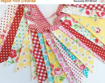 Entire Shop On SALE Double Length Bunting Flag Banner, 2 Sided Flags. Shabby Chic Designer Cotton Fabrics by Lecien Weddings, Girl's Room, B