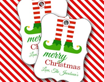 Christmas Tags, Elf Feet Personalized Christmas Tags, Party Favors, Place Cards - Set of 8