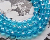 Aqua Blue Beads,Faceted 6mm Crystal Round FULL Bead Strand