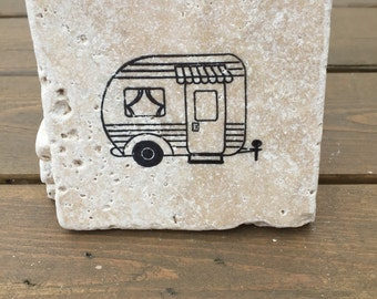 Happy Camper Natural Stone Coasters. Set of 4.