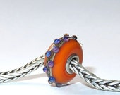Luccicare Lampwork Bead - Orange Dotty -  Lined with Sterling Silver