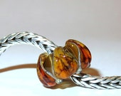 Luccicare Lampwork Bead - Antique Amber Lily -  Lined with Sterling Silver
