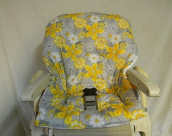 Chicco Polly High Chair Cover In Grey With Yellow Flowers