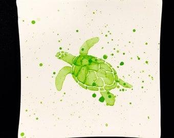 Plate. Salad. Sea Turtle Salad Plate. Turtle Plate. Turtle Dinner Plate. Salad Plate. Nautical. Coastal. Handmade By Sara Hunter