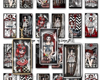 Gothic Gals and Clowns,Pierrot, 1 x 2  collage sheets, INSTANT Download, goth, red and black, clowns, gothic images,steampunk collage sheets