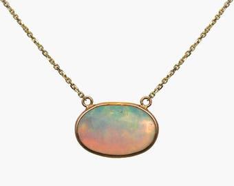 Opal slice necklace