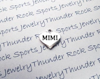 3 MIMI CHARMS, Antique Silver, hearts, GRANDMA Pendants, mom jewelry, family, great grandmother