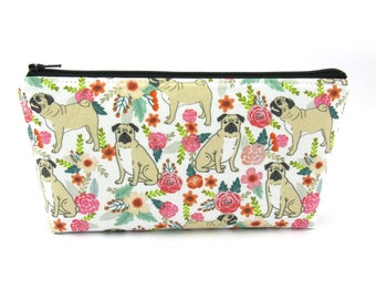 Pug Dog with Flowers Cosmetic Bag, Zip Pouch, Makeup Bag, Pencil Case, Zipper Bag, Dog Lover Gift