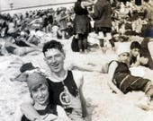 vintage photo 1920 Coney Island cute Couple Swimsuits on Beach Steam Bath in Back