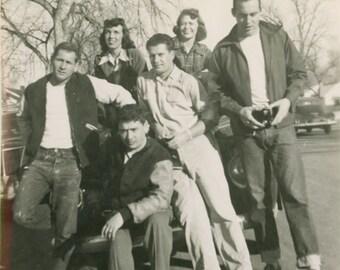 Vintage Snapshot photo 1948 Blue Jean Frat Boys Broken Leg Movie Camera Group