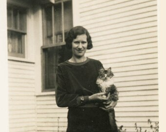 vintage photo 1920s Young Lady Holds CAt in Front of Home