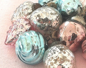 NEW!  Hand Strung Pink Turquoise Silver Mercury Glass Ornament Garland