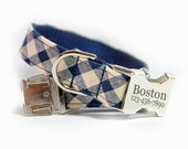 Blue plaid Dog Collar, Buffalo Check, Blue Tartan Collar, Personalized Blue and Ivory Plaid