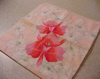Vintage Floral Scarf Japanese, Daffodils, Jonquils, pink + white, 28 x 26 inch | mori girl Boho pixie fairy Spring