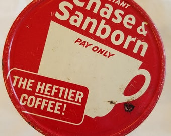 vintage chase & sanborn coffee jar lid wide mouth metal advertising mason screw top white red canning grocery packer jar cover instant tea