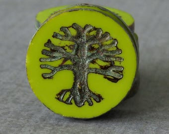 22mm Tree of Life Czech Coin Bead Chartreuse Picasso :  1 or 2 pc Czech Green Tree Coin Bead
