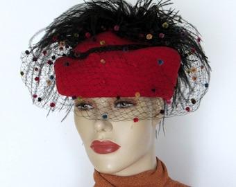 Feathered Hat /  Red Wool Hat / Veil Hat / Ostrich Fascinator/ Womens Fedora  Hat Sz 22
