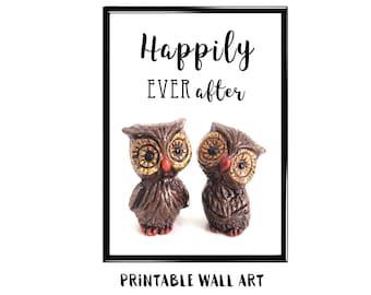 Wedding Love Print Wall Art Printable Card Romance Vintage Owls Anniversary Engagement Bridal Shower Digital Download 5x7 8x10 A4 A5